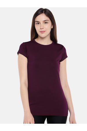 Sweet Dreams Women Burgundy Solid Lounge T-Shirt F-LAT-401