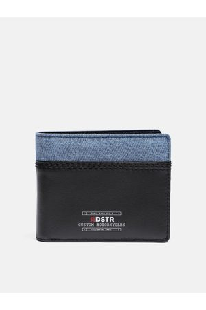 Roadster Men Black & Blue Colourblocked Leather Two Fold Wallet