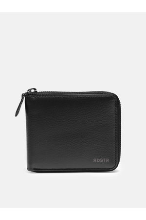 Roadster Men Black Solid Leather Zip Around Wallet