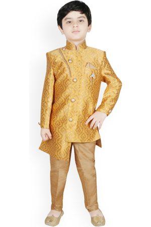 SG YUVRAJ Boys Yellow & Brown Silk Woven Design Sherwani Set