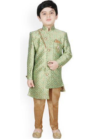 SG YUVRAJ Boys Green & Brown Silk Woven Design Sherwani Set