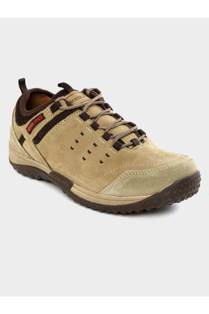 Woodland Men Olive Brown Solid Leather Sneakers with Cut work Detail