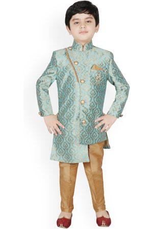 SG YUVRAJ Boys Turquoise Blue & Brown Silk Woven Design Sherwani Set
