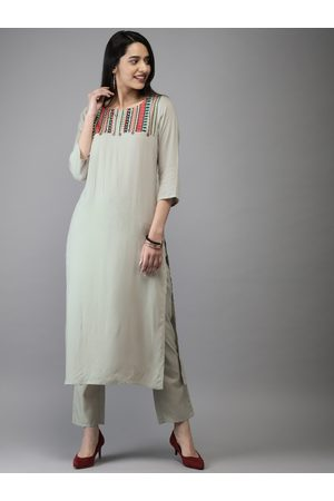 Anouk Women Grey Embroidered Kurta with Trousers