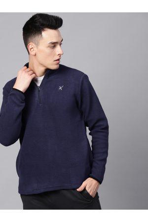 HRX Men Navy Blue Solid Sweatshirt