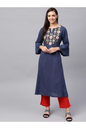 Bhama Couture Women Navy Blue Yoke Design A-Line Kurta