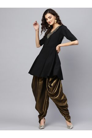 Ahalyaa Women Black & Golden Yoke Design Kurti with Dhoti Pants