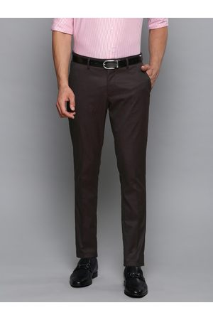 Louis Philippe Men Burgundy Comfy Tapered Fit Checked Formal Trousers