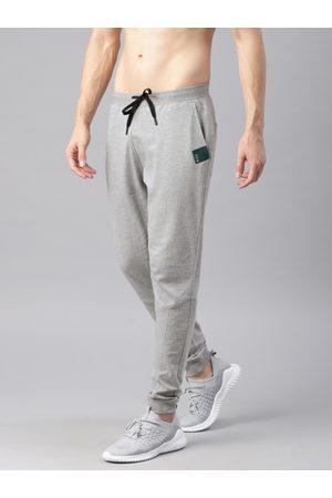 HRX Men Grey Melange Solid Slim Fit Jogger Lifestyle Track Pants