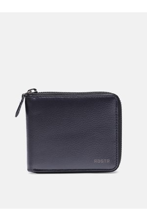 Roadster Men Navy Blue Solid Leather Zip Around Wallet