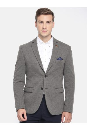 Ralph Lauren Men Grey & Black Self Design Slim Fit Single-Breasted Smart Casual Blazer