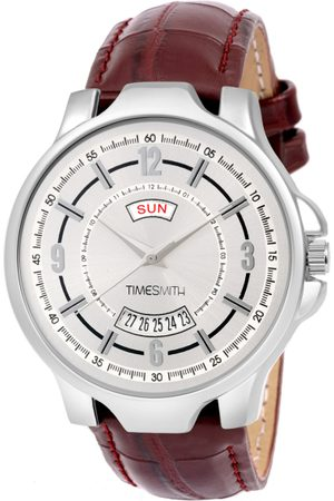 TIMESMITH Men White & Steel-Toned Leather Analogue Watch TSC-081