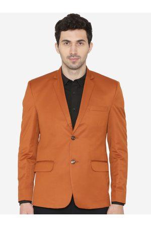Wintage Men Orange Solid Regular Fit Single-Breasted Blazer