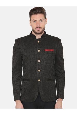 Wintage Men Black Self-Design Regular Fit Bandhgala Blazer