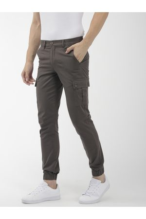 The Indian Garage Co Men Grey Slim Fit Solid Cargo Style Joggers