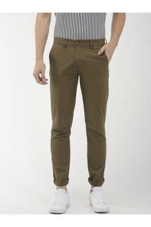 The Indian Garage Co Men Olive Green Slim Fit Solid Chinos