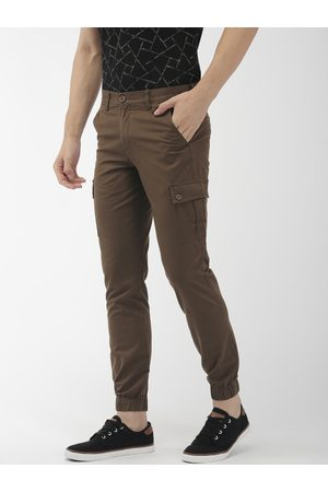 The Indian Garage Co Men Brown Slim Fit Solid Joggers
