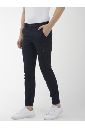 The Indian Garage Co Men Navy Blue Slim Fit Solid Cargo Style Joggers