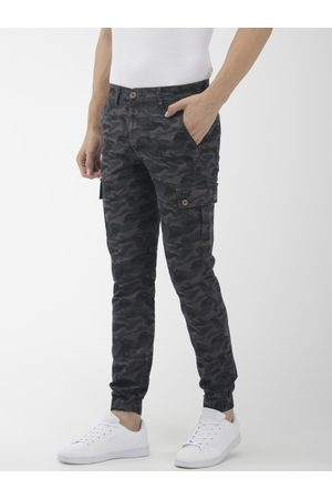 The Indian Garage Co Men Joggers - Men Grey & Blue Slim Fit Camouflage Printed Cargo Style Joggers