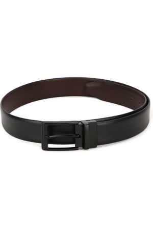 Teakwood Leathers Men Black & Brown Solid Reversible Leather Belt