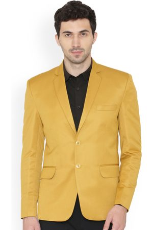 Wintage Men Yellow Solid Regular Fit Single-Breasted Blazer