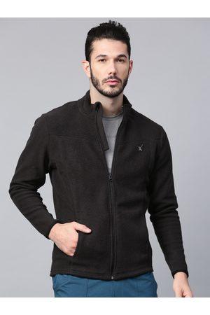 HRX Men Black Solid Fleece Sweatshirt