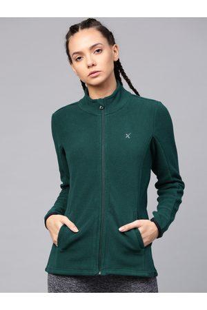 HRX Women Green Solid Sweatshirt