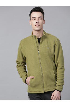 HRX Men Olive Green Solid Fleece Sweatshirt