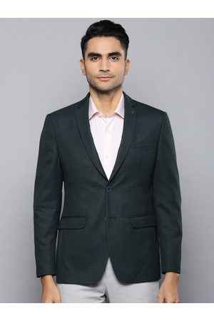 Louis Philippe Men Green Checked Slim Fit Single Breasted Formal Blazer