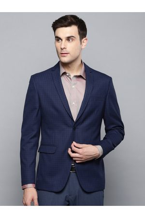 Louis Philippe Men Blue & Black Checked Slim Fit Single Breasted Formal Blazer