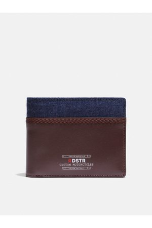 Roadster Men Brown & Navy Blue Colourblocked Two Fold Wallet