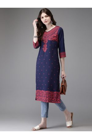Anouk Women Navy Blue & Peach-Coloured Printed Straight Kurta