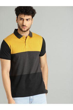 Roadster Men Mustard Yellow & Charcoal Grey Colourblocked Polo T-shirt