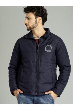 Roadster Men Navy Blue Solid Puffer Jacket