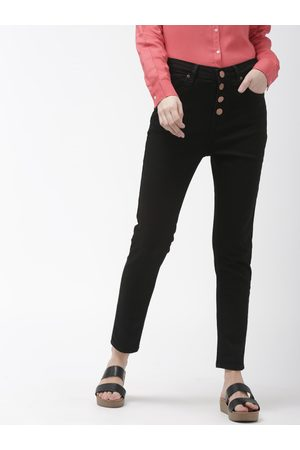 Mast & Harbour Women Black Skinny Fit High-Rise Clean Look Stretchable Jeans