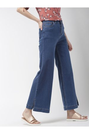 Mast & Harbour Women Blue Wide Leg Flared Mid-Rise Clean Look Jeans