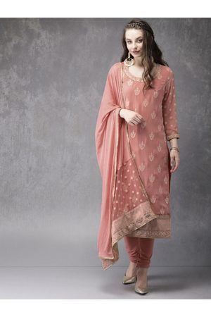 Anouk Women Peach-Coloured Embroidered Kurta with Churidar & Dupatta