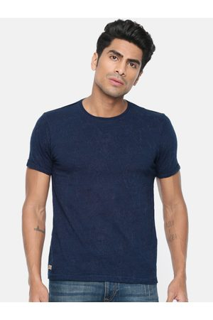 Ed Hardy Men Navy Embroidered Round Neck Regular Fit T-shirt