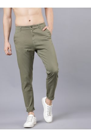 Highlander Men Green Tapered Fit Ankle Length Chinos
