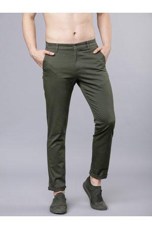 Highlander Men Green Slim Fit Solid Chinos