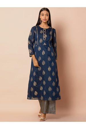 INDYA Women Blue & Gold-Toned Printed Kurti with Palazzos