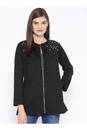 Belle Women Black Embellished Lightweight Collarless Jacket