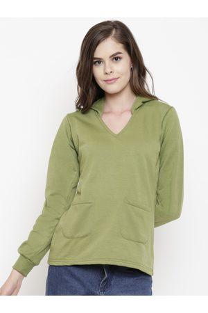 Belle Women Sweatshirts - Women Green Solid Hooded Sweatshirt