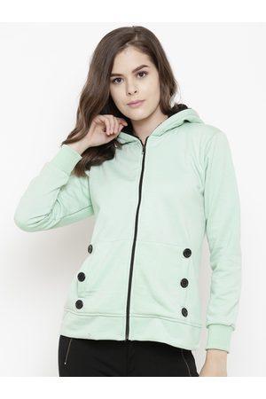 Belle Women Sea Green Lightweight Solid Hooded Sweatshirt