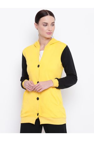 Belle Women Yellow & Black Solid Longline Hooded Sweatshirt