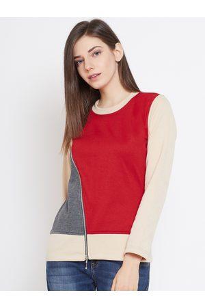 Belle Women Red & Charcoal Grey Colourblocked Sweatshirt