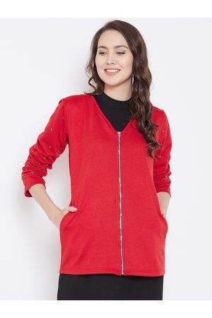 Belle Women Red Solid Tailored Jacket