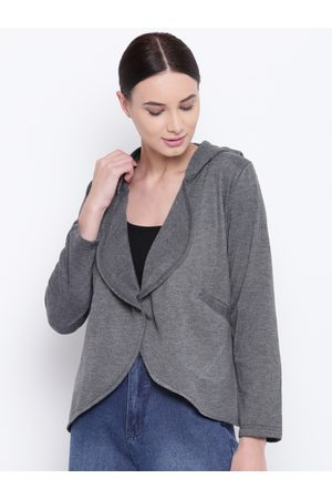 Belle Women Charcoal Grey Solid Hooded Jacket