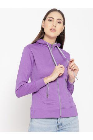 Belle Women Purple Solid Hooded Sweatshirt