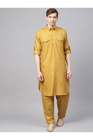 SOJANYA Men Mustard Yellow Solid Pathani Kurta with Salwar